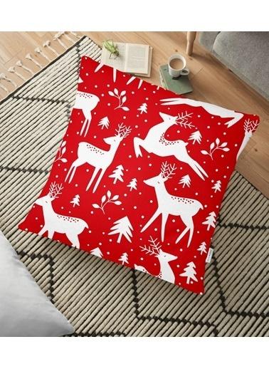 Real Homes Kırmızı Zeminde Geyikler Modern Tasarımlı Dekoratif Yer Minderi - 70 x 70 cm Renkli